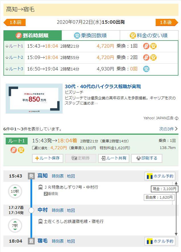 高知駅から宿毛駅までの価格