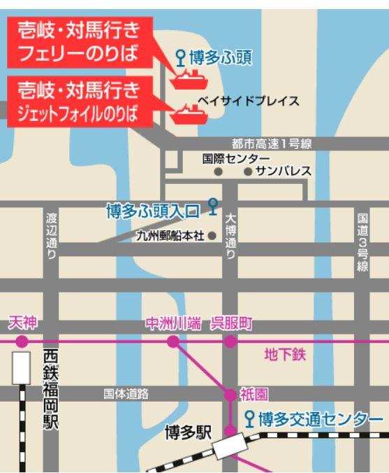 博多駅から博多ふ頭までの地図