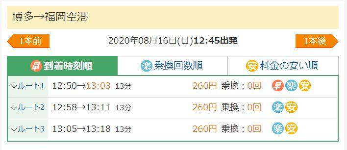 博多駅から福岡空港駅の料金