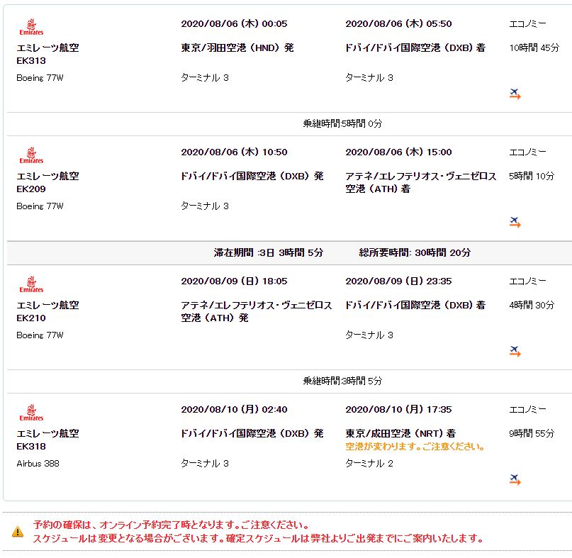 サプライス往復航空券 成田からアテネ