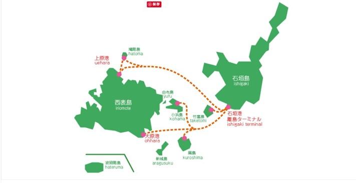 八重山諸島の地図