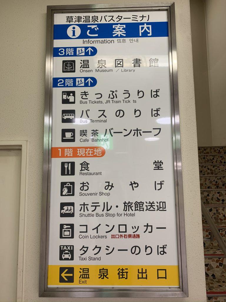 草津温泉バスターミナルの案内板