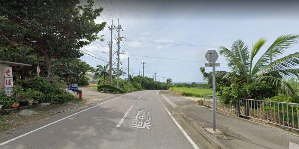 サタケ八重山ヤシ記念館前の道路