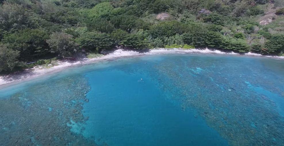 上空から見た父島のビーチ