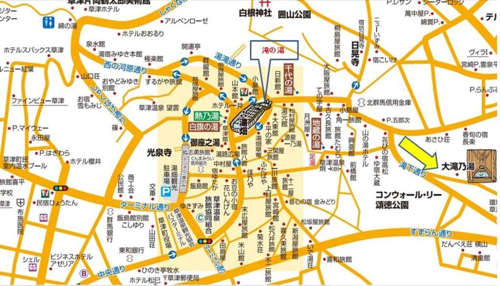 大滝乃湯のタウンマップ