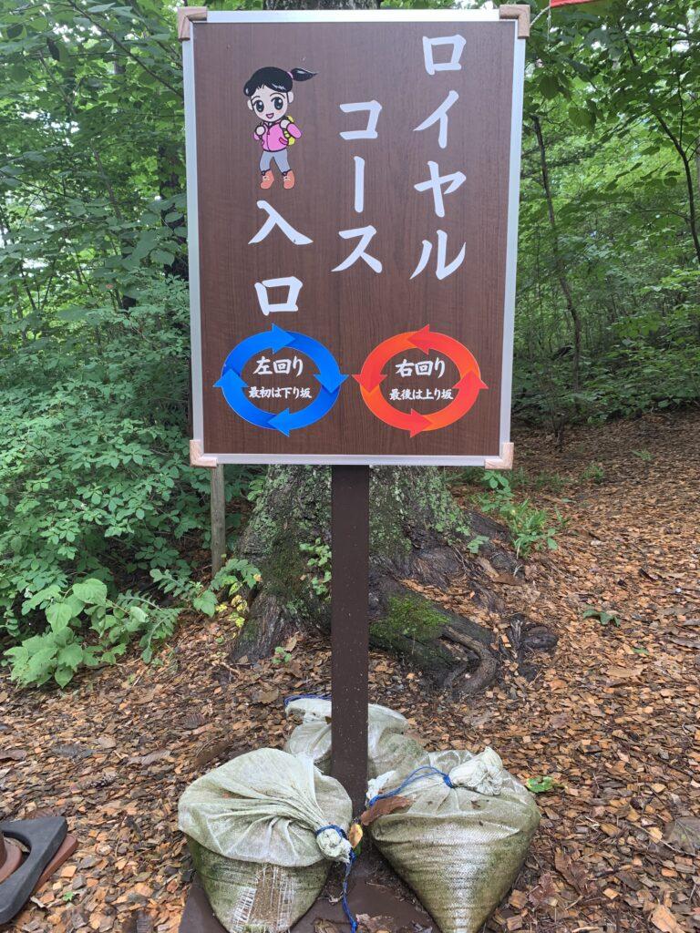 散策呂の右回りと左回りを示唆する看板