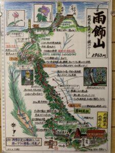 雨飾山の登山道案内図